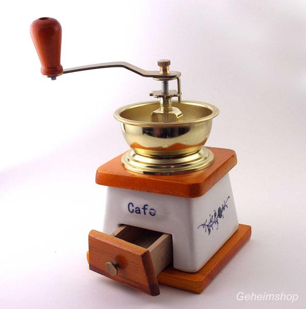 Antike Nostalgie Kaffeemühle mit Keramik