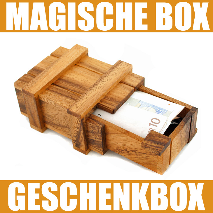 magische geschenkbox geldgeschenkbox zauberkiste knobelspiel box puzzle aus holz ebay. Black Bedroom Furniture Sets. Home Design Ideas