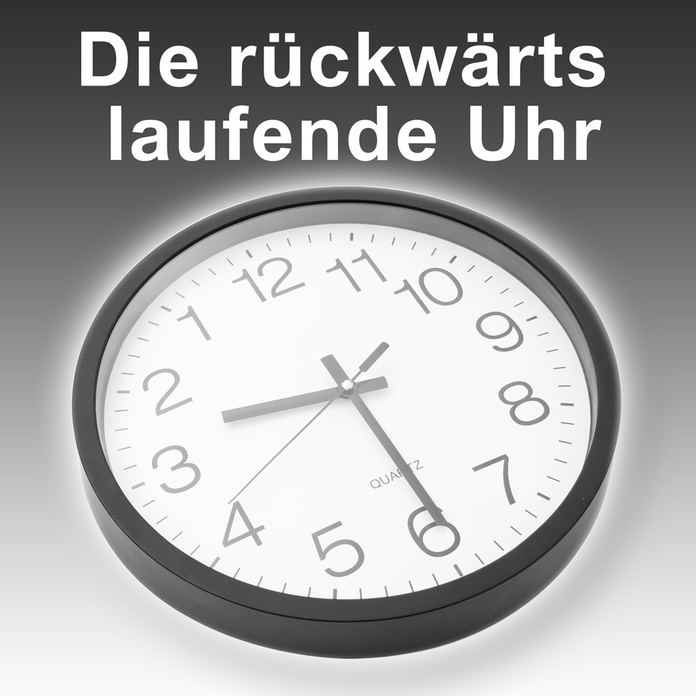 r ckw rts laufende uhr r ckw rtslaufende wanduhr r ckw rtsuhr xxl 38cm ebay. Black Bedroom Furniture Sets. Home Design Ideas
