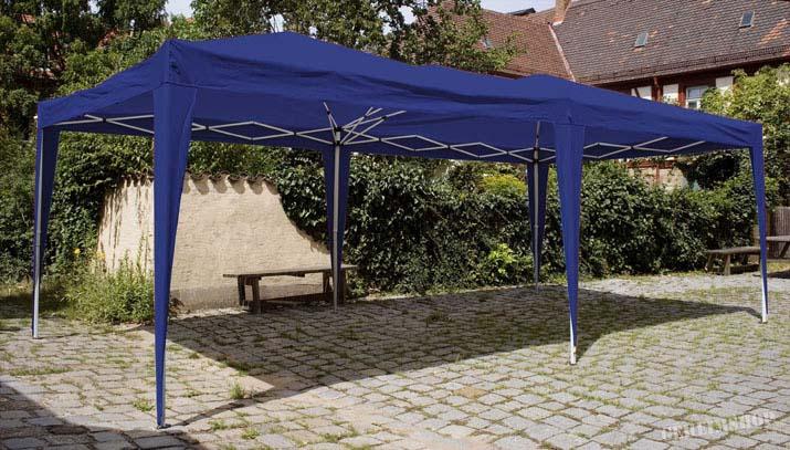 6x3 m falt pavillon automatik faltpavillon festzelt partyzelt zelt in blau wei ebay. Black Bedroom Furniture Sets. Home Design Ideas