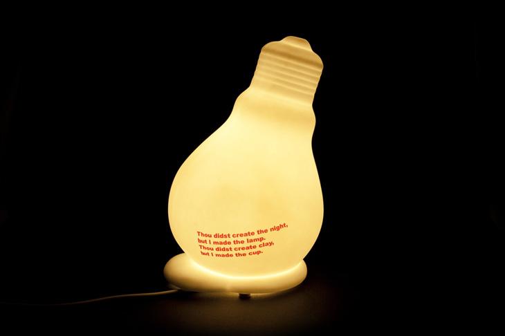 design gl hbirnen lampe tischlampe nachttischlampe aus keramik gl hbirne ebay. Black Bedroom Furniture Sets. Home Design Ideas