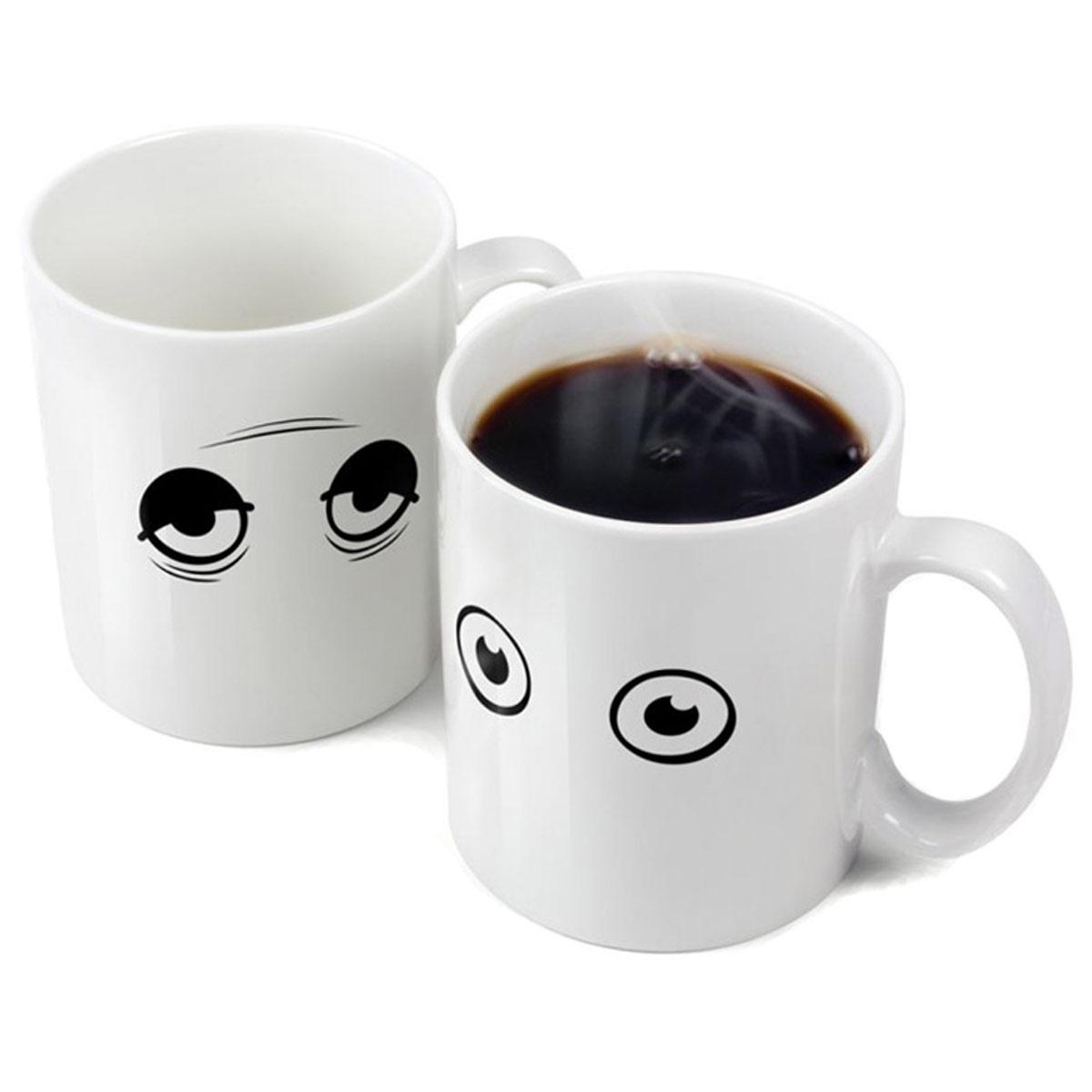 temperaturempfindliche kaffeetasse wake up cup wach auf. Black Bedroom Furniture Sets. Home Design Ideas