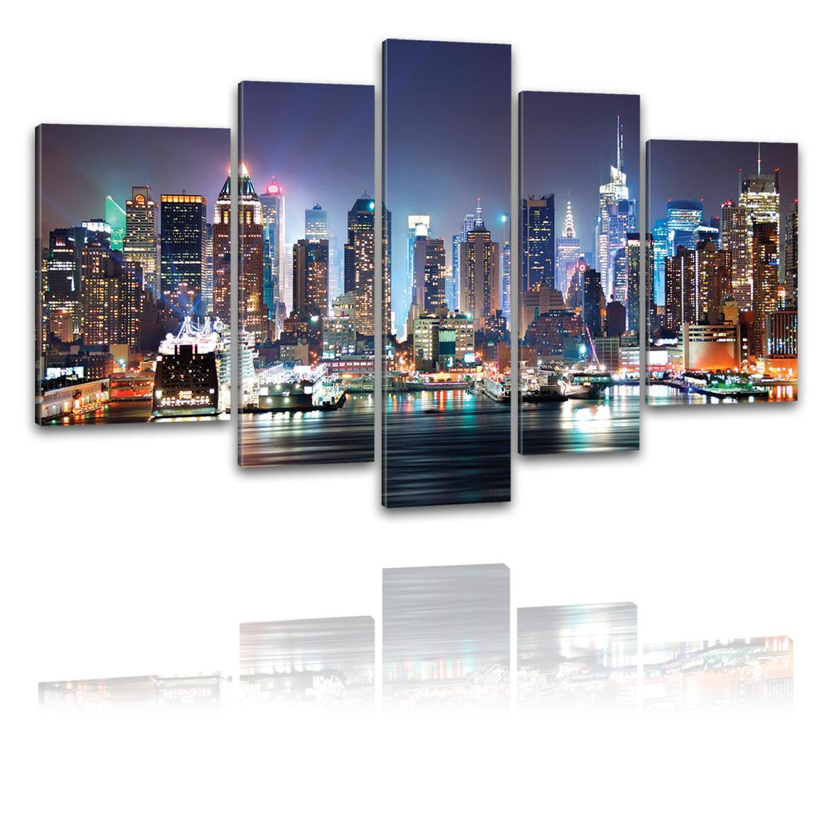 kunstdruck leinwand bilder new york skyline manhattan bei nacht bild xxl 5 teile ebay. Black Bedroom Furniture Sets. Home Design Ideas