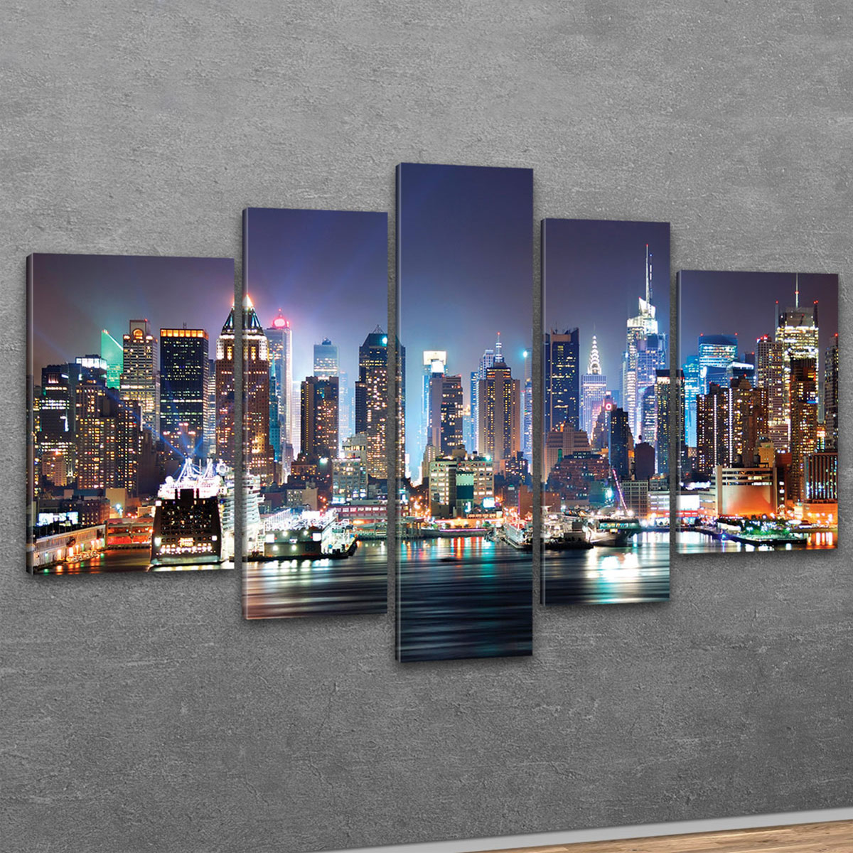 kunstdruck leinwand bilder new york skyline manhattan bei nacht bild xxl 5 teile ebay. Black Bedroom Furniture Sets. Home Design Ideas