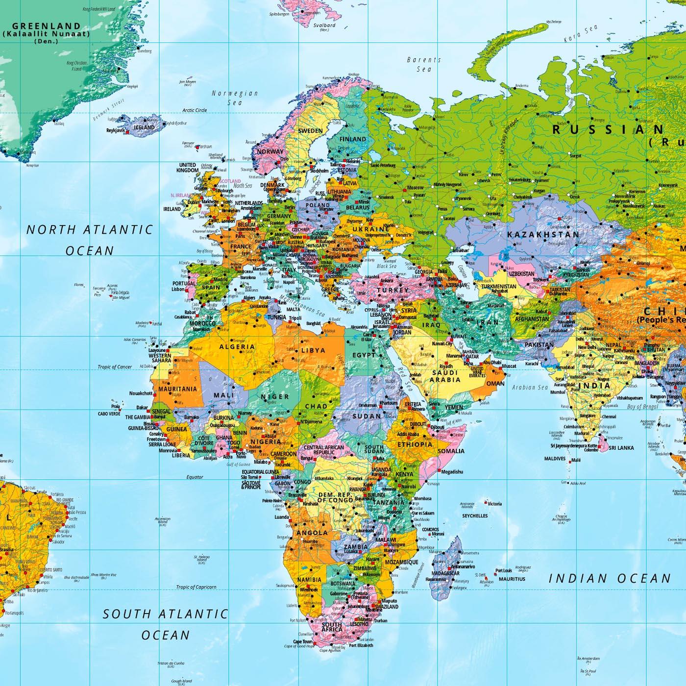 Weltkarte XXL Poster Riesen Landkarte Posterformat