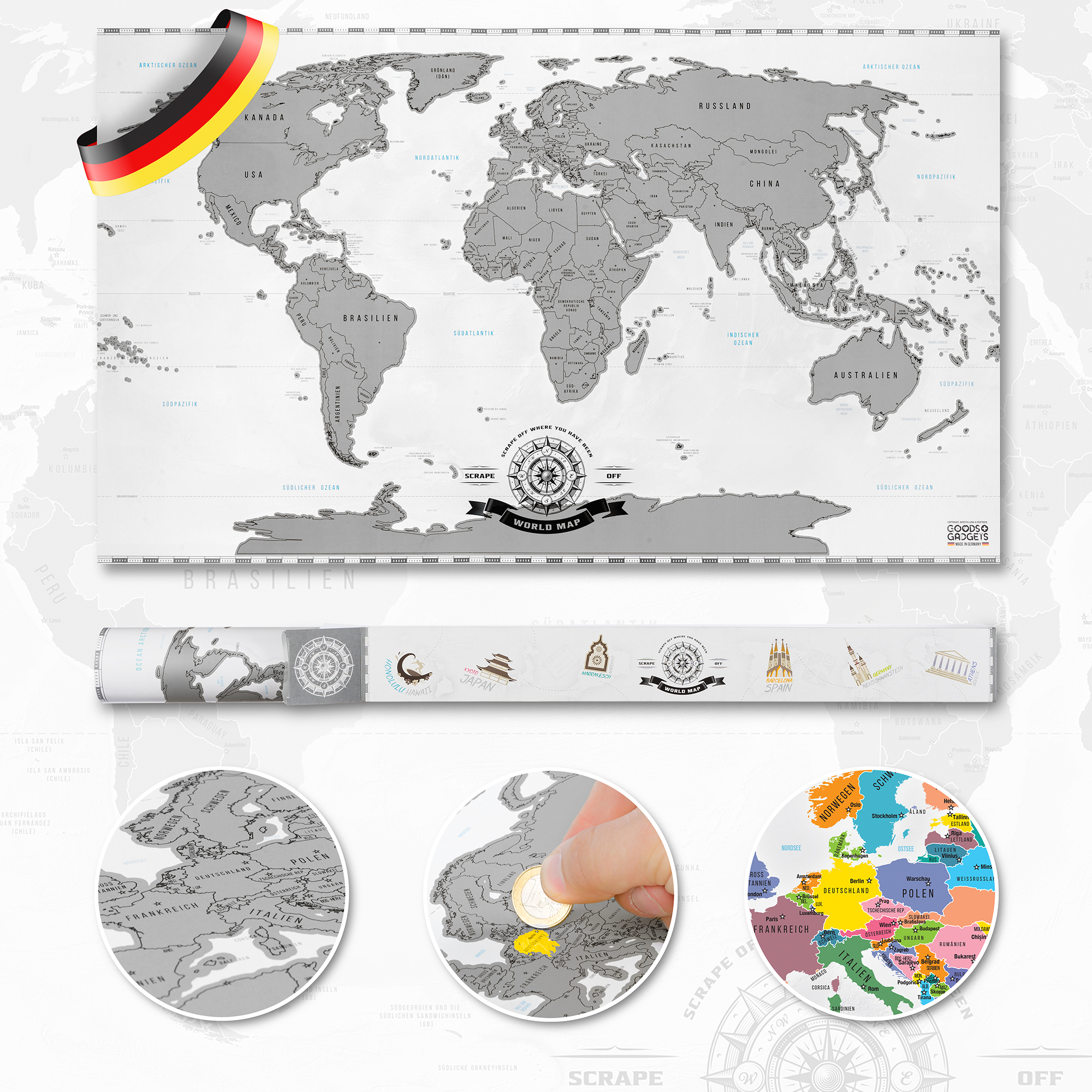 rubbel weltkarte scrape off world map poster karte landkarte zum rubbeln silber ebay. Black Bedroom Furniture Sets. Home Design Ideas