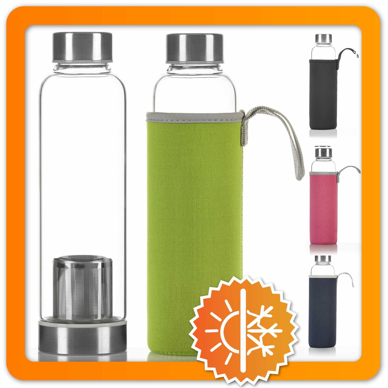 dimono trinkflasche glasflasche wasserflasche neopren sleeve edelstahl filter ebay. Black Bedroom Furniture Sets. Home Design Ideas