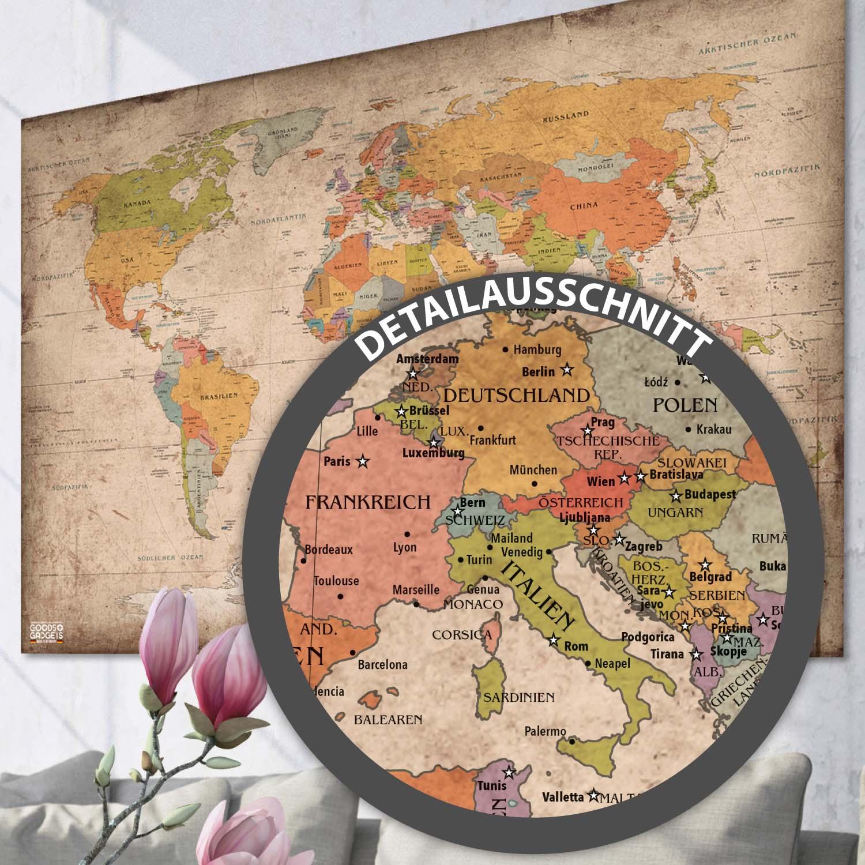 Antike XXL Weltkarte Poster Riesen Landkarte Retro Vintage Design ...