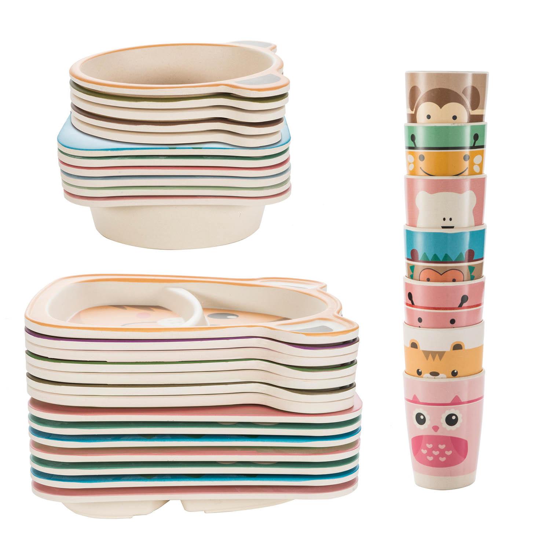 HOMEWINS Kindergeschirr Set aus Bambus 5 teilig Tasse Sch/üssel Teller L/öffel Kaninchen BPA Frei Lernbesteck Geschirr Sets f/ür Kinder ab 6 Monaten Gabel
