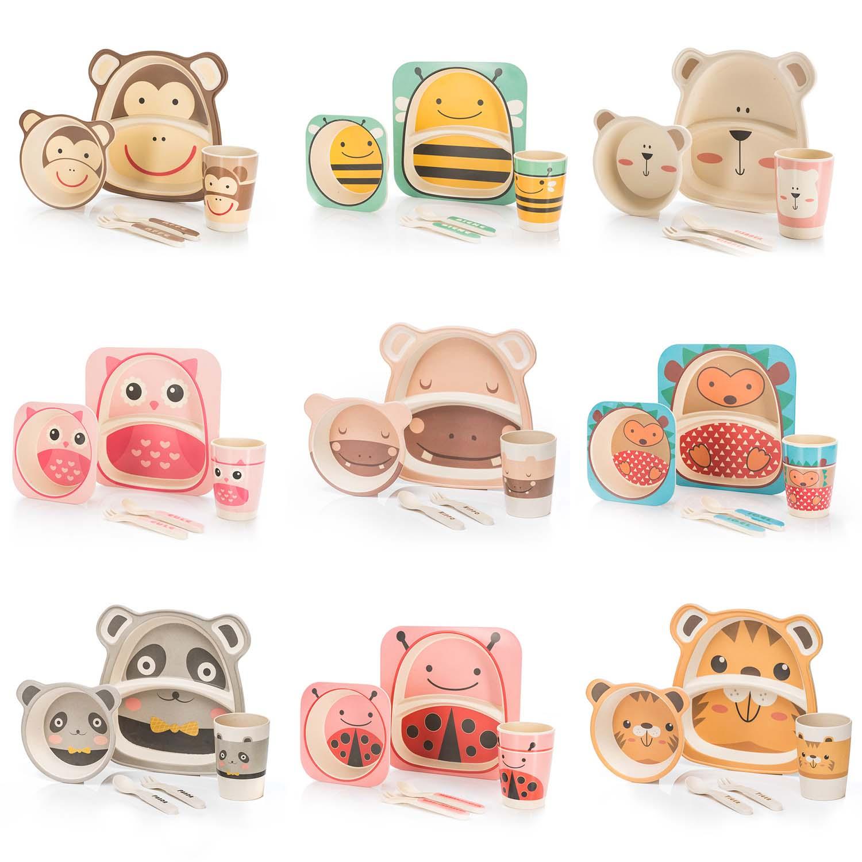 Kindergeschirr Set 5 Teilig Bambus Babygeschirr Kinder Besteck Geschirr Affek Omegastolarka Pl