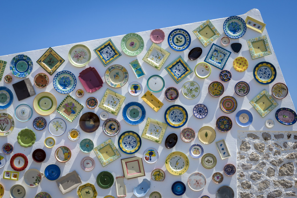 Traditional Portuguese handcrafted plates on the wall