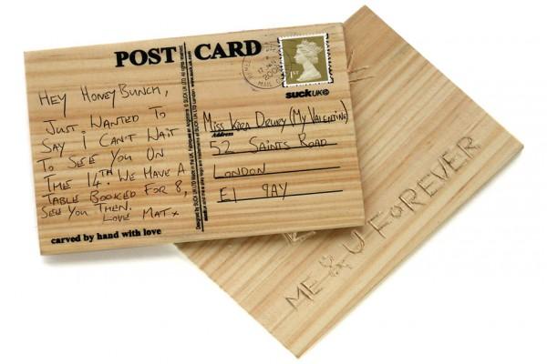 Postkarte aus Holz