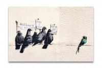 Kunstdruck auf Leinwand - Banksy Immigration Birds 90x60cm
