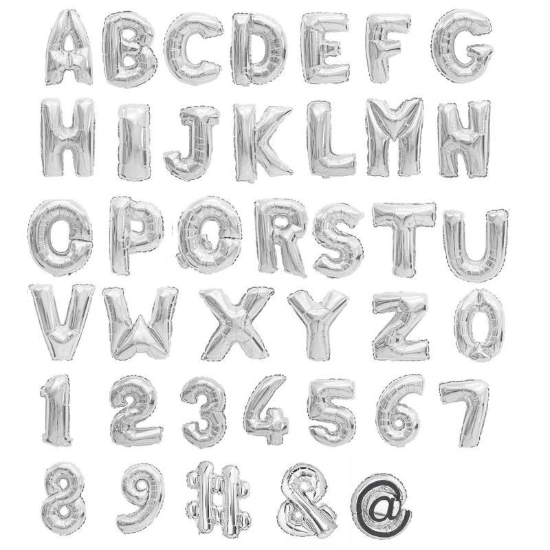 Buchstaben Alphabet Ballons aufblasbar silber 80cm Party Ballons
