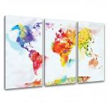 Kunstdruck -  3-teilige Leinwand - Weltkarte Aquarell
