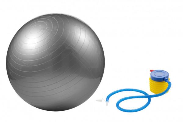 Gymnastikball 65cm mit Pumpe Sitzball silber