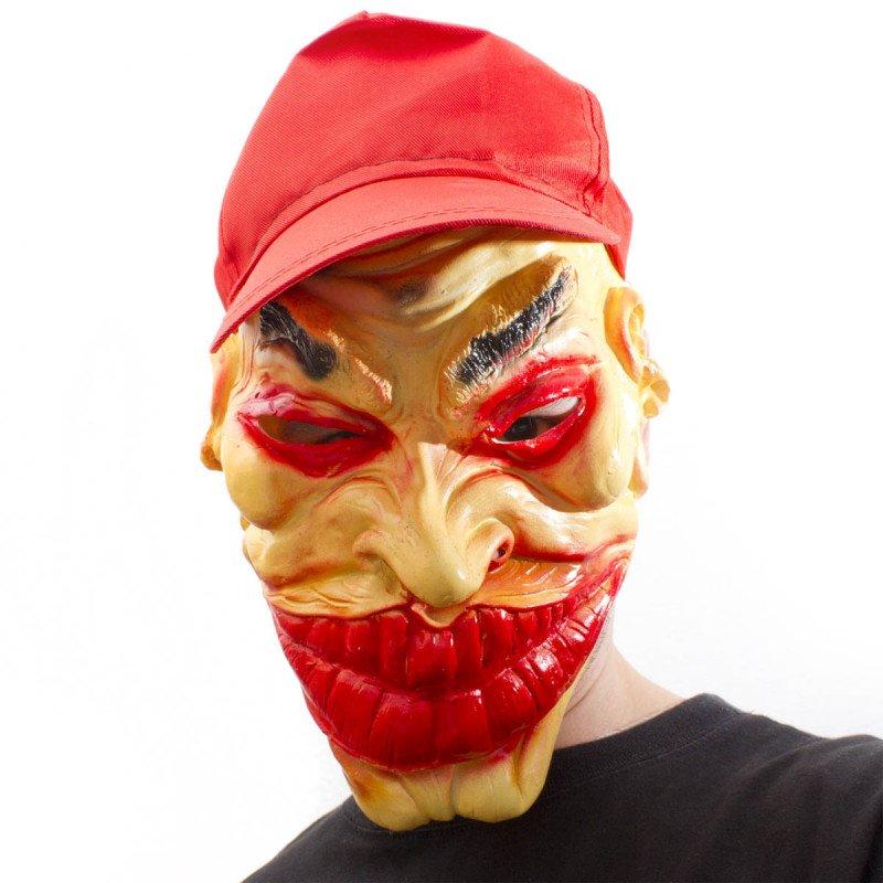 Horror Clown Joker Maske mit Cap
