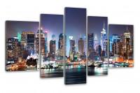 Kunstdruck New York City Skyline: Manhattan bei Nacht