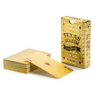 Goldene Pokerkarten aus Kunststoff - Poker Spielkarten in Gold