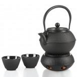 Gusseisen Tee Set - Teekanne, Stövchen und 2 Tassen