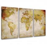 Kunstdruck -  3-teilige Leinwand - Antike Weltkarte