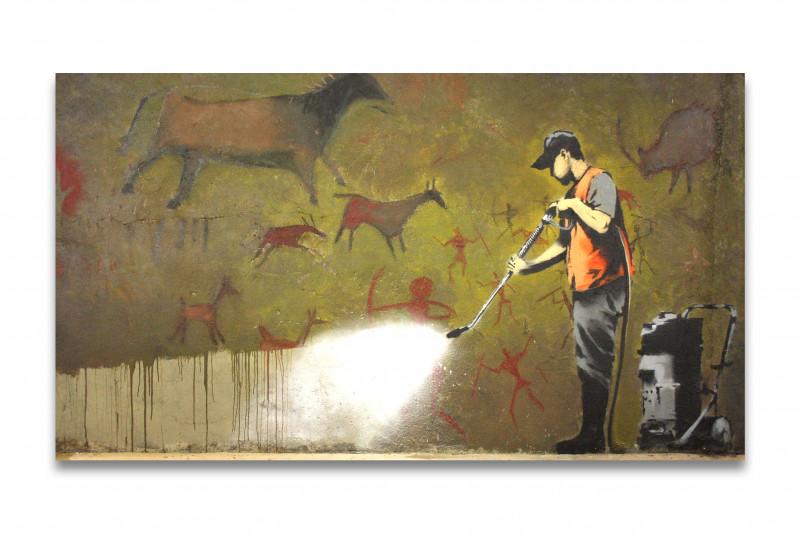 Banksy Höhlenmalerei wird entfernt mit Hochdruckreiniger