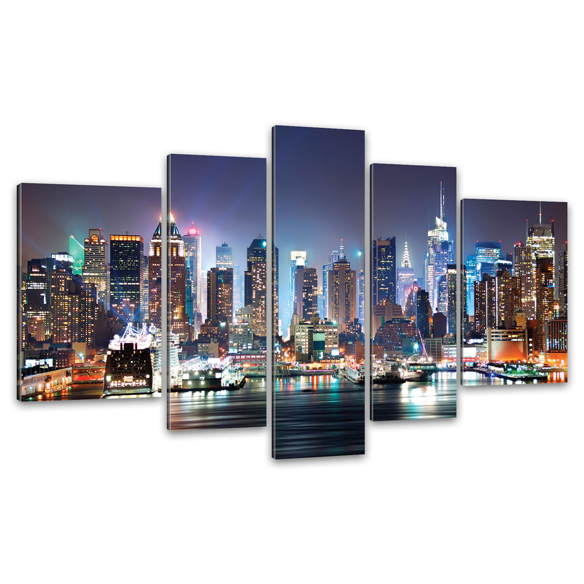 kunstdruck 5 teilige leinwand new york city skyline. Black Bedroom Furniture Sets. Home Design Ideas