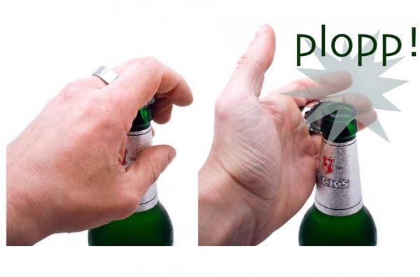 Flaschenöffner - Bieröffner-Ring aus Metall - Geheimshop.de