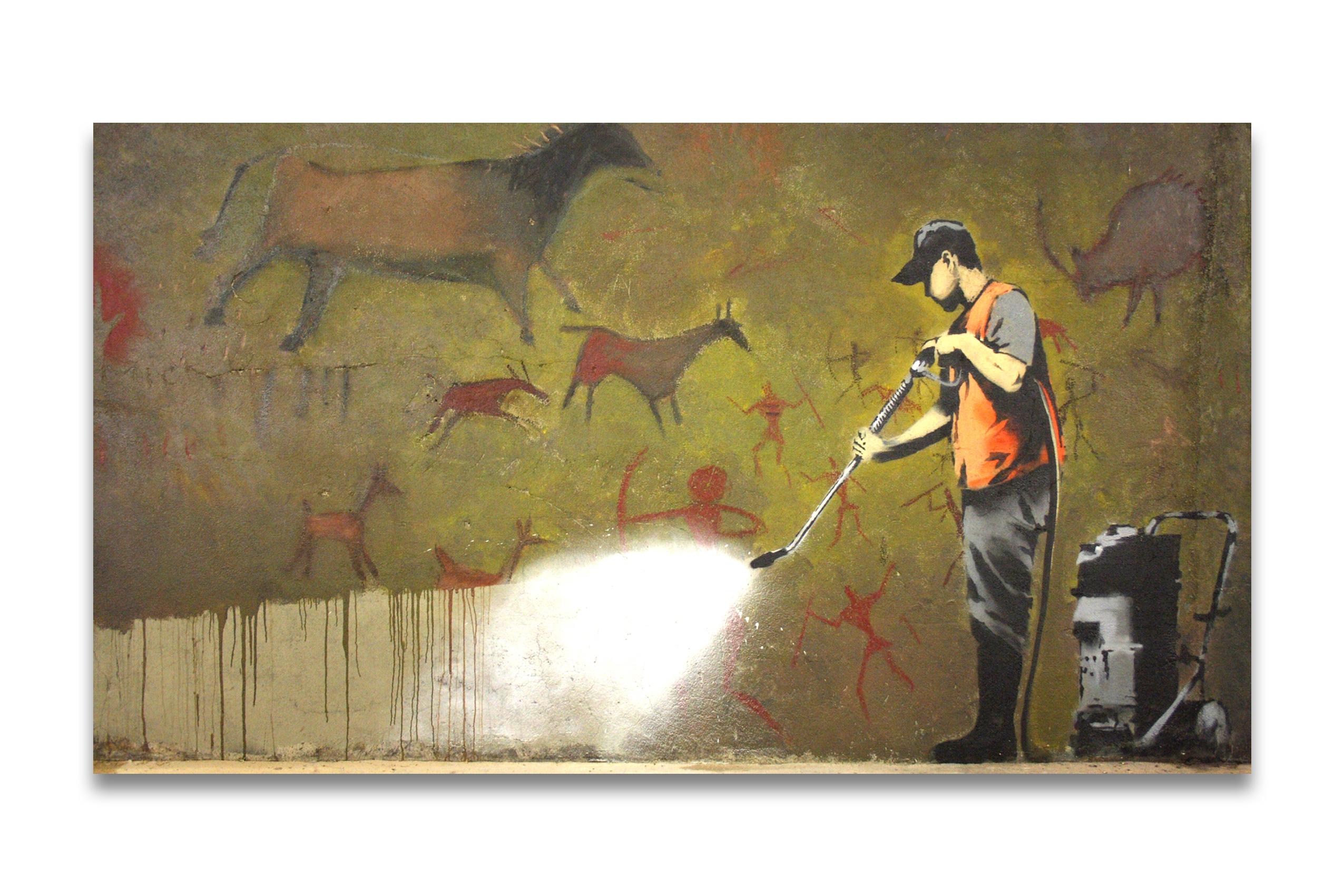 banksy cave graffiti removal leinwand kunstdruck 98x55cm. Black Bedroom Furniture Sets. Home Design Ideas