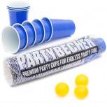 Beer Pong Becher - 50 Partybecher für Beer Pong + 3 Bälle - blau