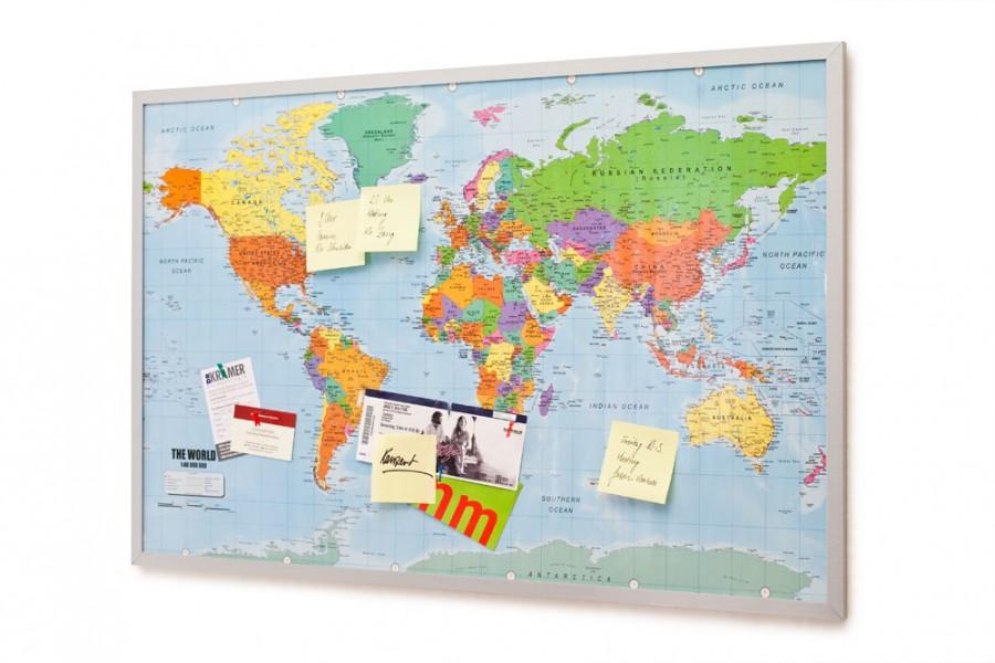 Pinnwand Weltkarte aus Cork mit 20 Markierfähnchen 90 x 60 cm