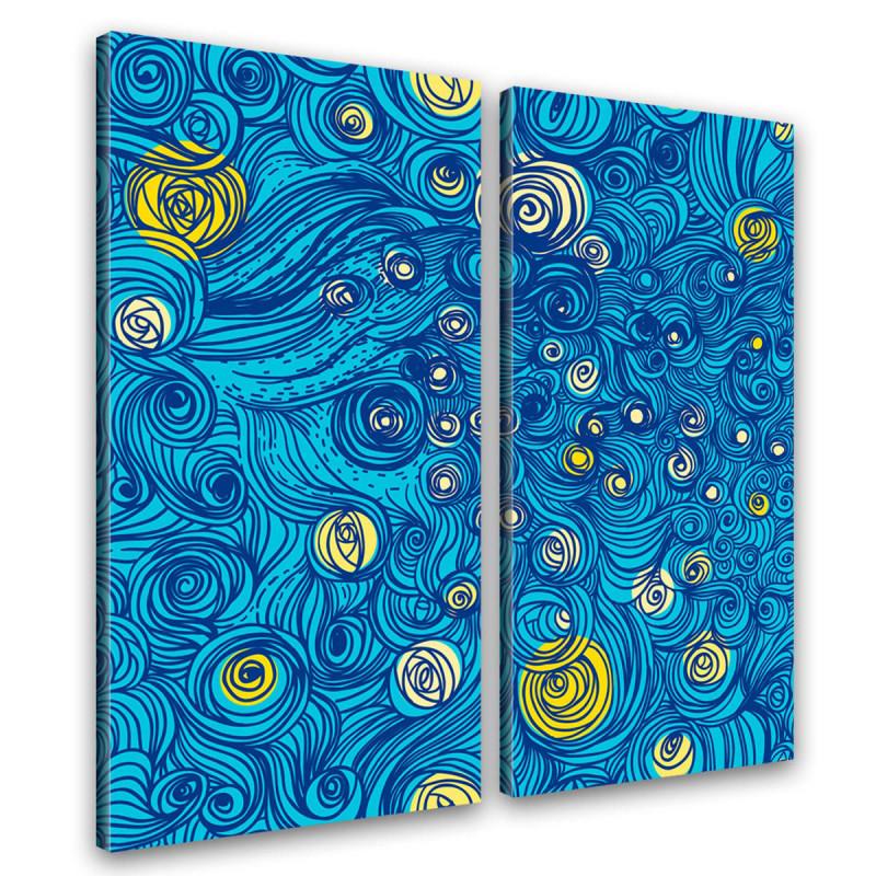 Sternennacht Kunstdruck auf Leinwand inspiriert von van Gogh