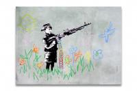 Banksy Kunstdruck Crayola Shooter - Leinwand Bild Kindersoldat