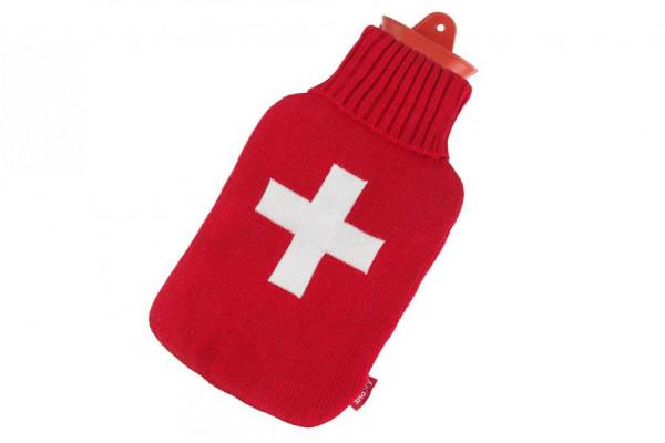Snoozy Wärmflasche 2 Liter mit Schweizer Kreuz Bezug