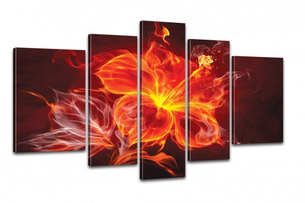Kreativer Kunstdruck Fire Flower 170x100cm auf Leinwand