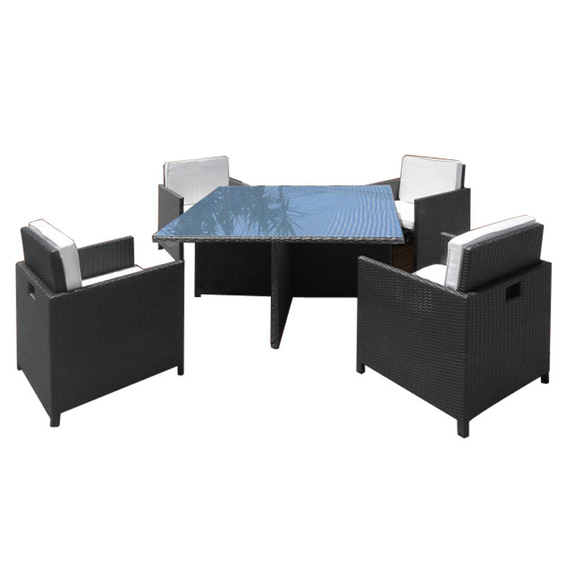 Rattan Sitzgruppe Tisch mit Stühlen