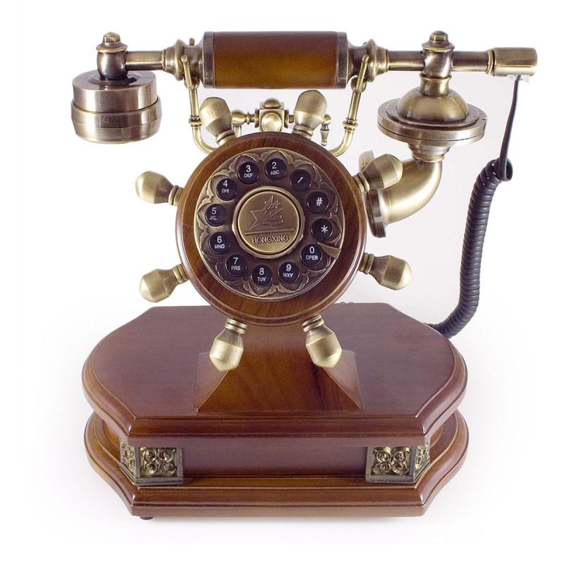 antikes Telefon aus Holz