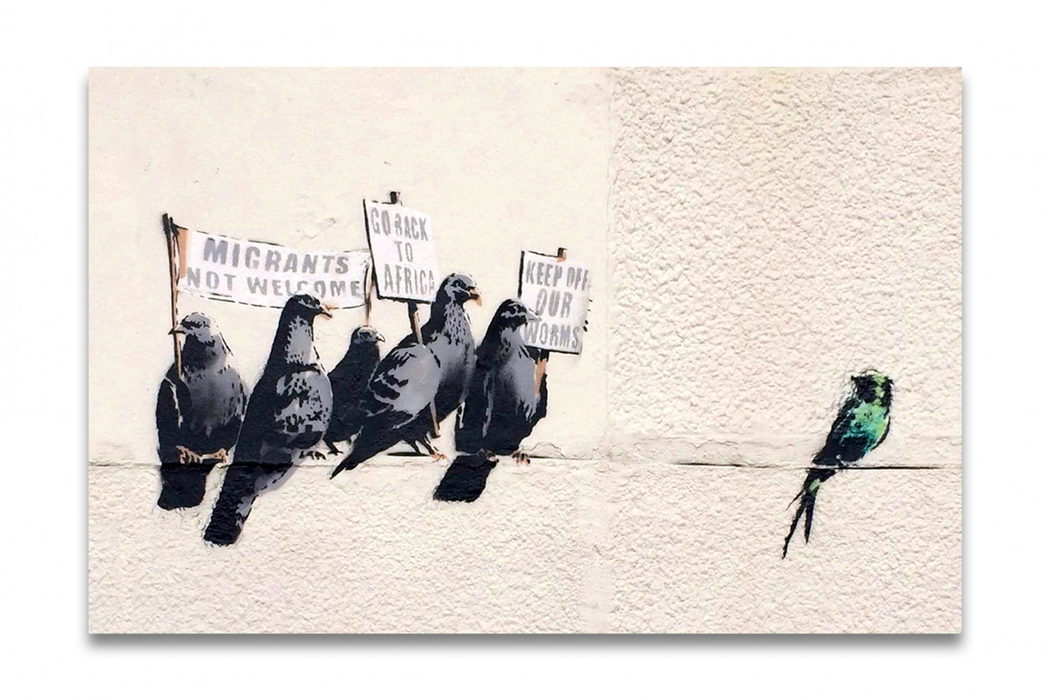 kunstdruck auf leinwand banksy immigration birds 90x60cm. Black Bedroom Furniture Sets. Home Design Ideas