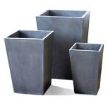 Fiberglas Blumentopf - Blumenkübel grau beton - Größe L (35cm)