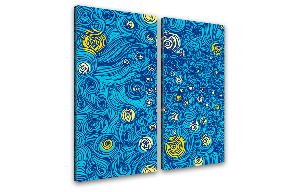 kunstdruck sternennacht grafik hommage van gogh 100x100cm. Black Bedroom Furniture Sets. Home Design Ideas