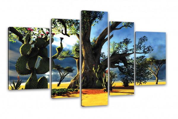 Kunstdruck - 5-teilige Leinwand - Wüsten Landschaft