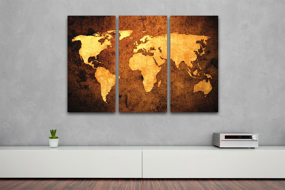 weltkarte auf leinwand xxl im bronze design. Black Bedroom Furniture Sets. Home Design Ideas