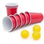 Beer Pong Becher - 50 Partybecher für Beer Pong + 3 Bälle - rot