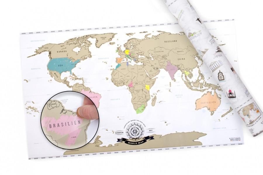 Rubbel Weltkarte Deluxe die Landkarte zum Rubbeln