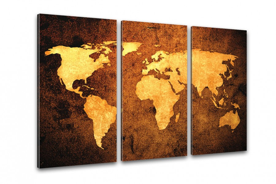 Weltkarte auf Leinwand XXL im Bronze Design