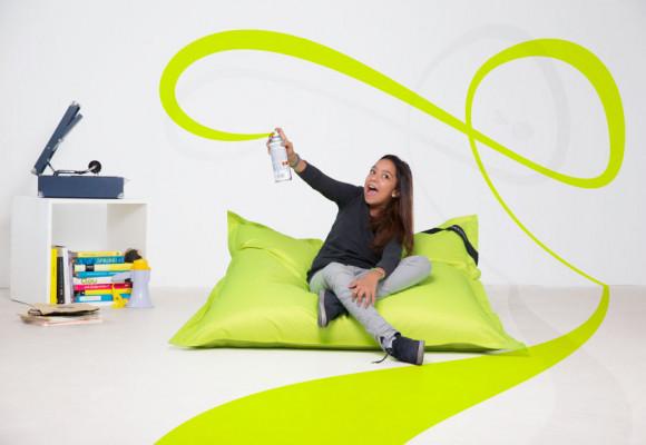 Smoothy Sitzsack - Kinder Sitzkissen - Neon Gelb-Grün