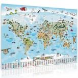 Kinder Weltkarte XXL - handgezeichnete Panorama Weltkarte für Kinder