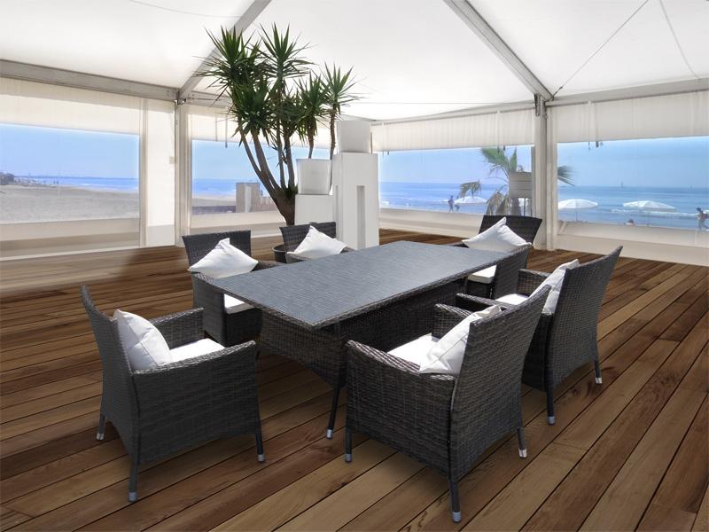 rattan essgruppe esstisch und 6 st hle aus polyrattan. Black Bedroom Furniture Sets. Home Design Ideas