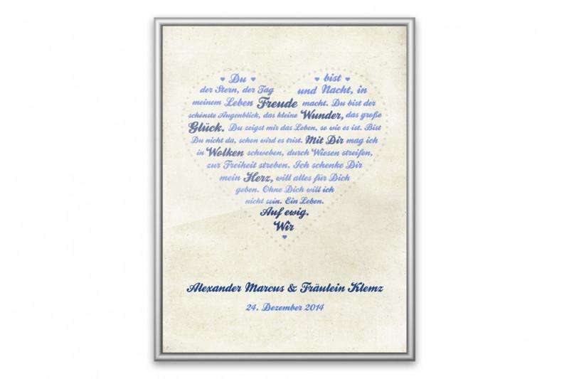 Persönliches Liebesgedicht individualisiert - blau