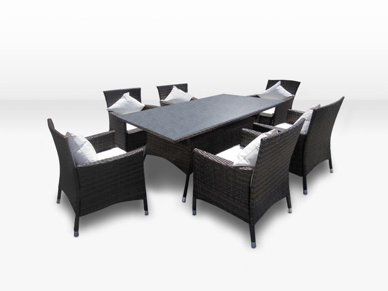 Rattanmöbel essgruppe  Rattan Essgruppe - Esstisch und 6 Stühle aus Polyrattan
